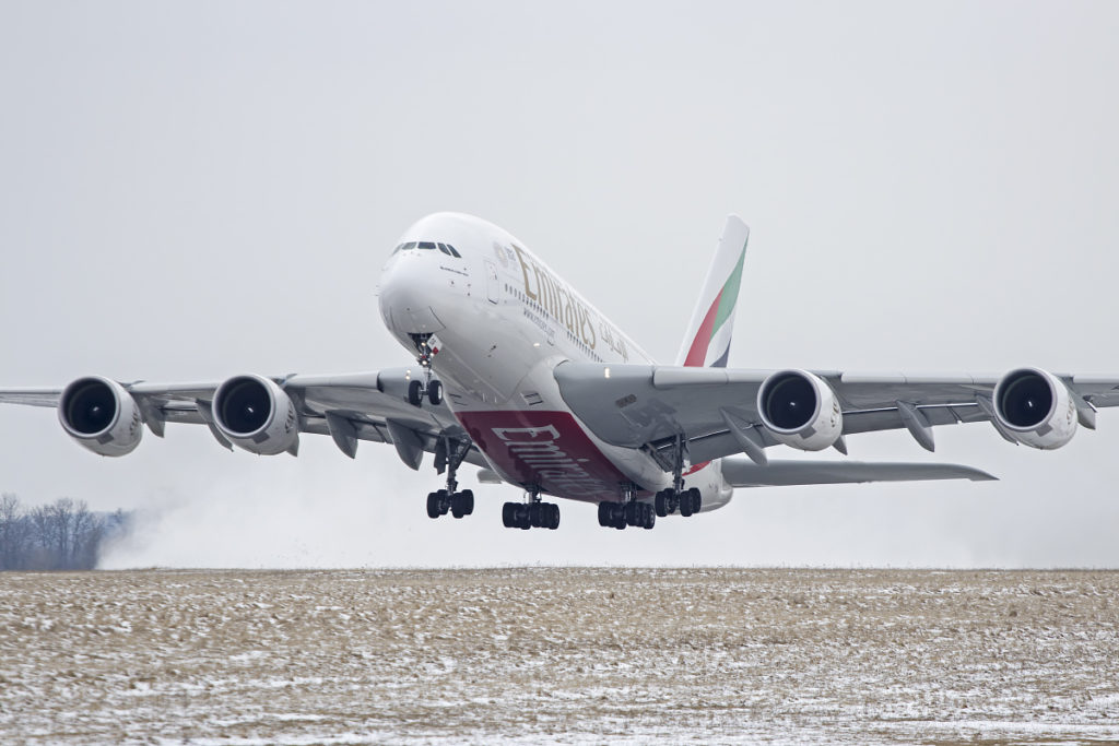 airbus a380 emirates takeoff snow